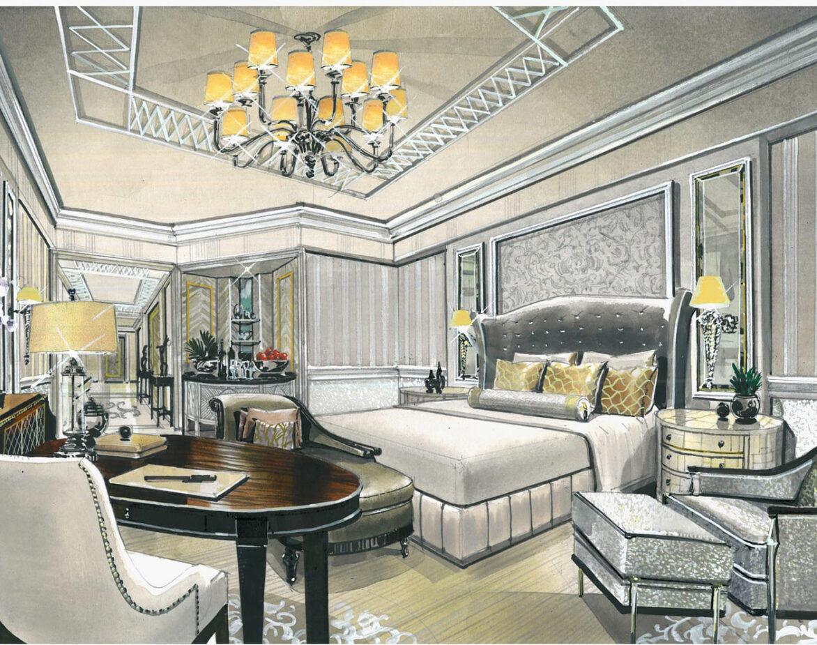 Dubai hotel room drawing render Harris Jackson