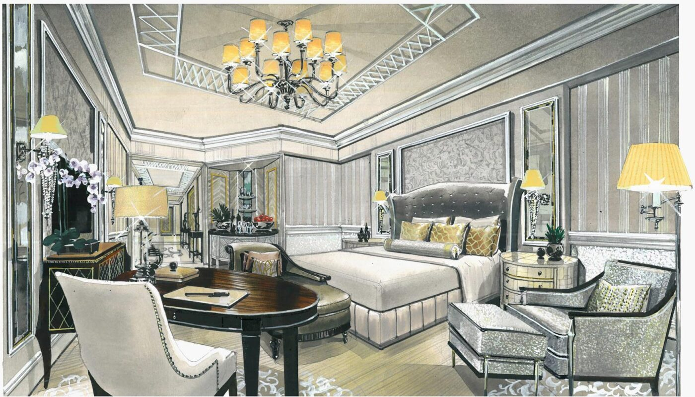 Dubai hotel room drawing render Harris Jackson